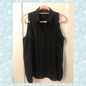 Black Button Down - Cold Shoulder